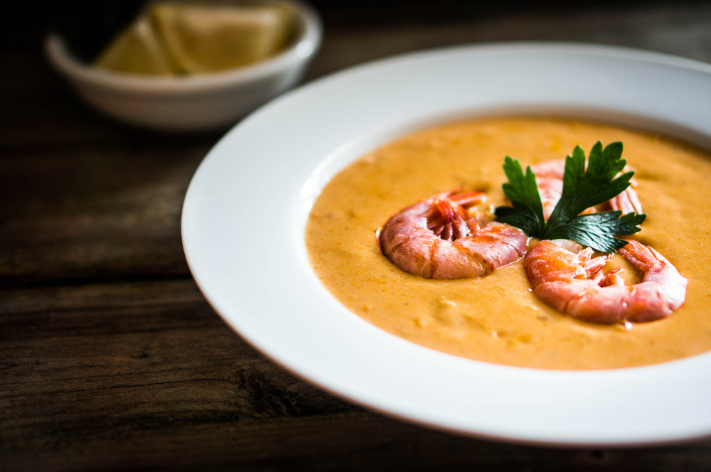 photo of shrimp in a creamy soup