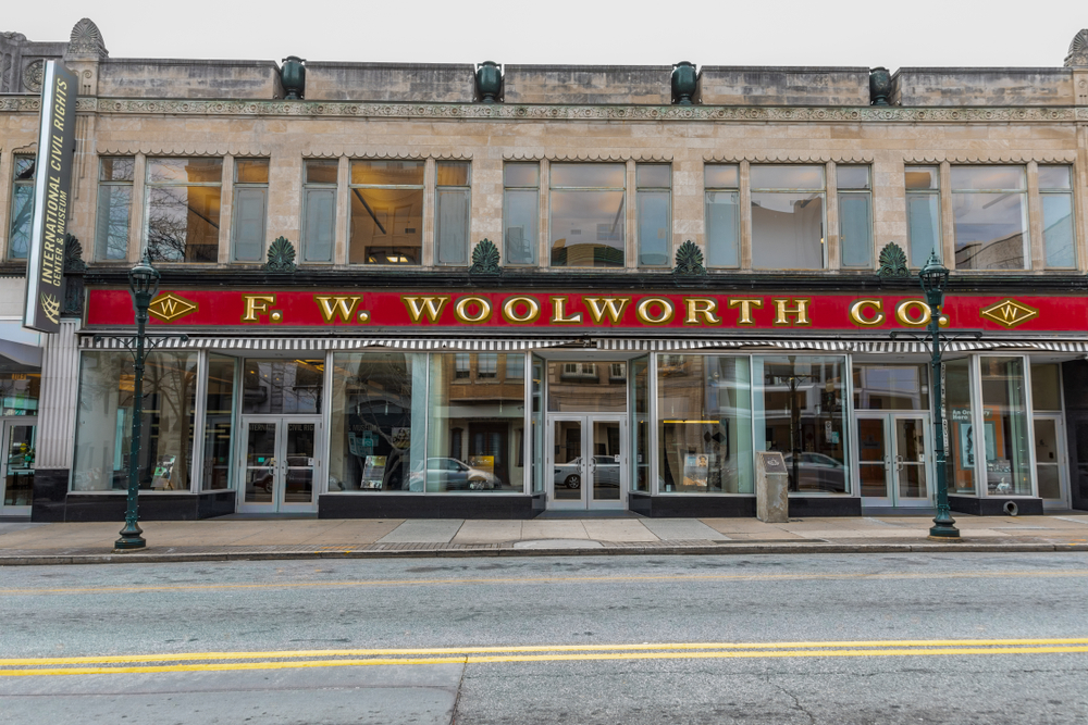 The exterior of the F.W. Woolworth building in Greensboro North Carolina