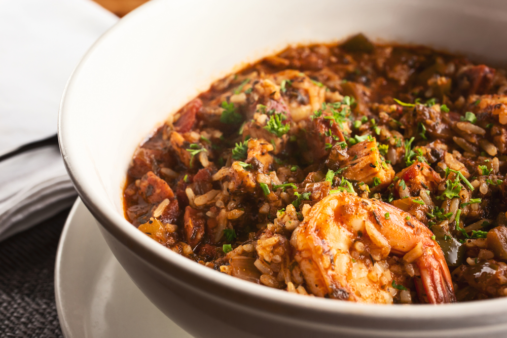 A large bowl of jambalaya at one of the best black-owned restaurants in New orleans