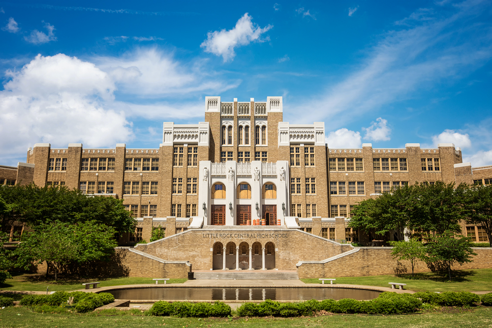 Little Rock Central High School's front façade on a sunny day
