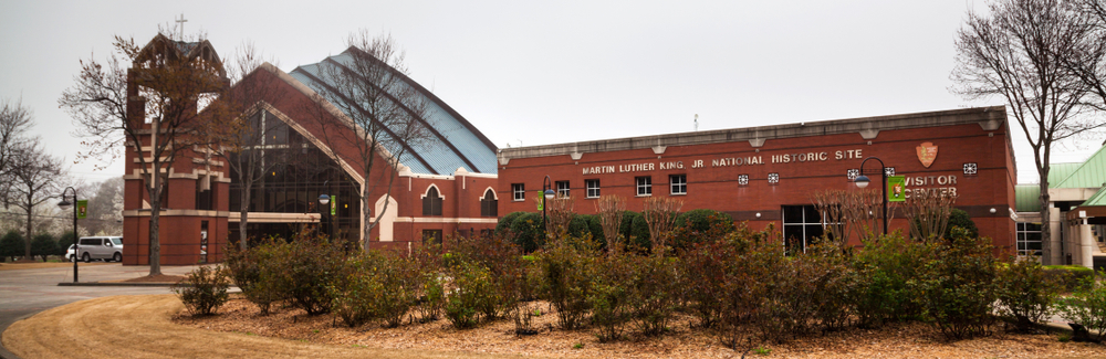 The visitors center of the Martin Luther King Jr. National Historic Site on a cloudy day