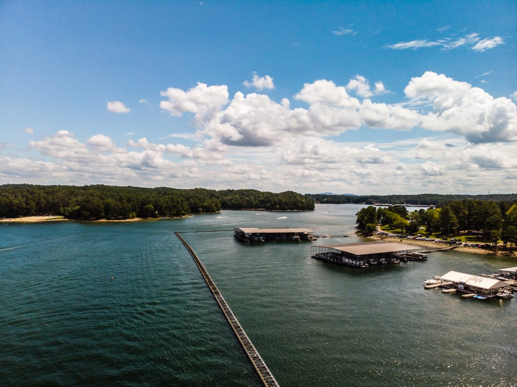 A drone shot from Lake Allatoona, one of the filming locations for Netflix's Ozark