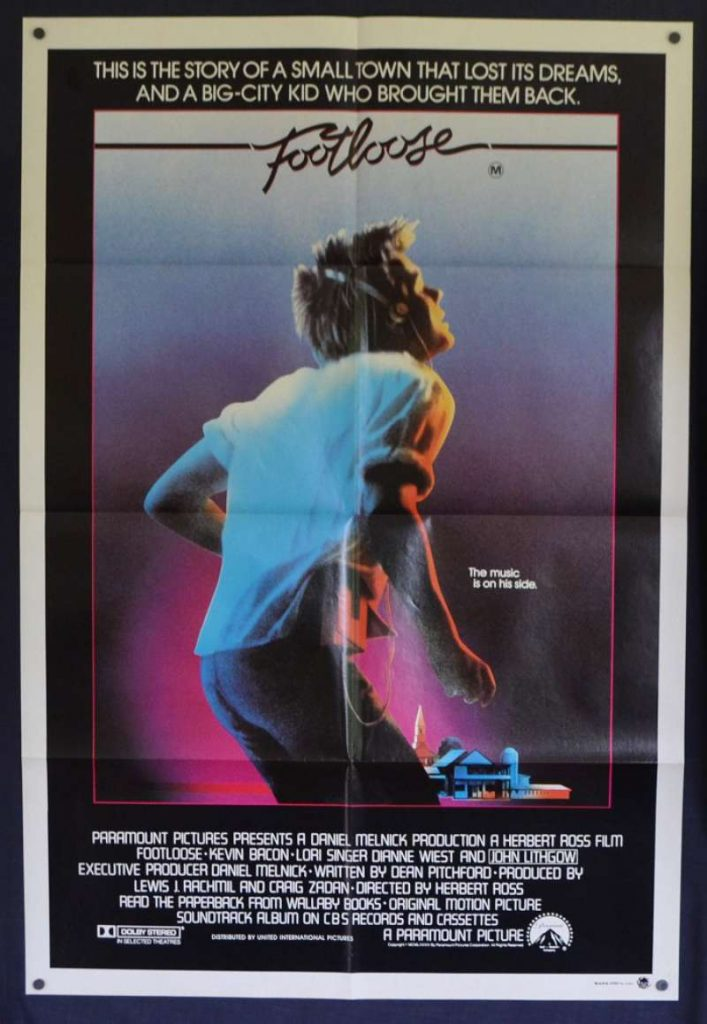 The original poster for Footloose, featuring Patrick Swayze