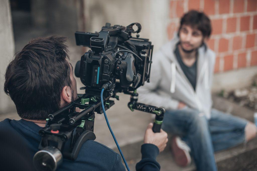 A crew films in Georgia.