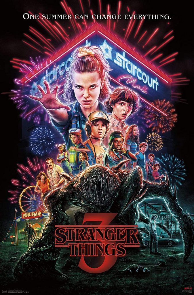 A poster for Season 3 of Stranger Things, one of the thelevision shows filmed in Georgia.