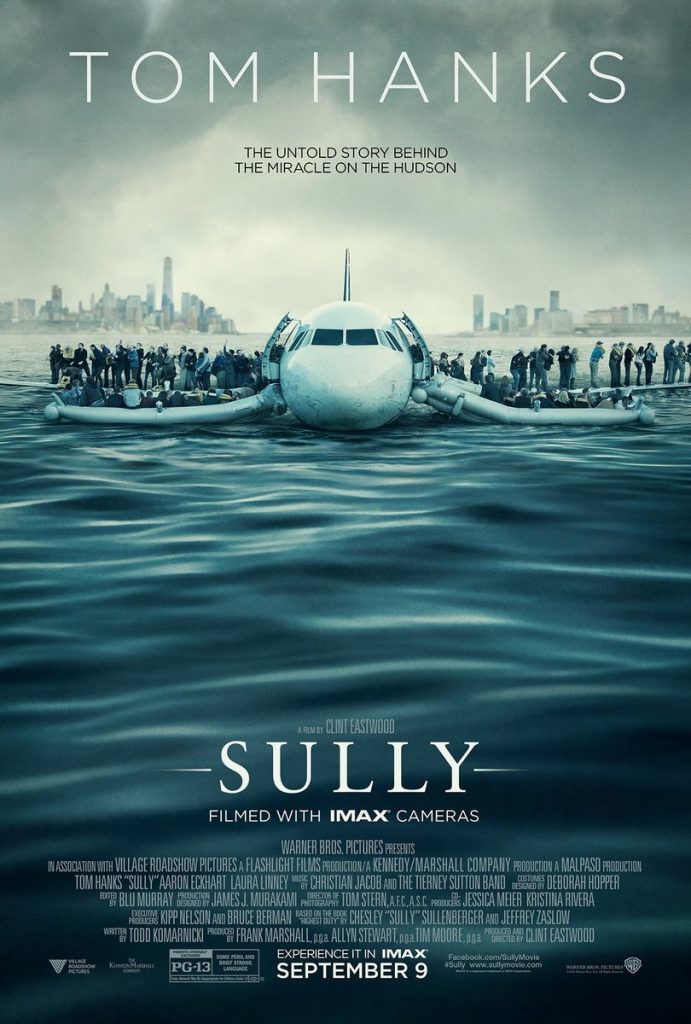 The poster for Sully, which depicts passengers evacuating the plane as it sits on the Hudson Bay
