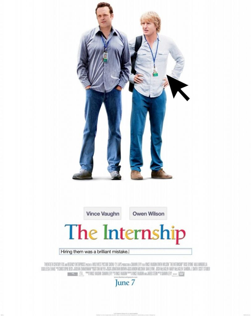 The poster for The Internship pokes fun at and channels Google.