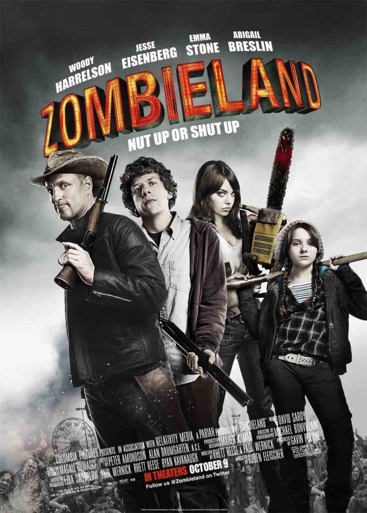 The poster for Zombieland, one of the movies filmed in georgia.