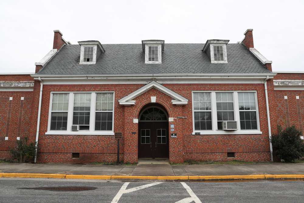 The outside of the New Kent School one of the battlegrounds of the Brown Vs. Board of Education supreme court case