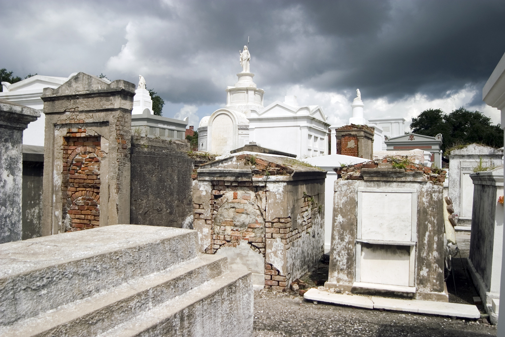 A cloudy afternoon in Saint Louis Cemetery No. 1.