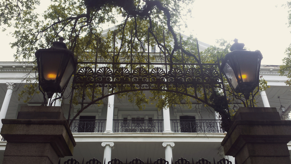 A photo of the gates of the American Horror Story House in New Orleans.