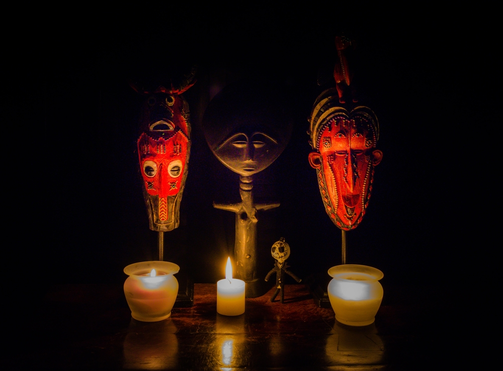 A stylized voodoo altar.
