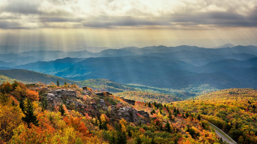 The Blue Ridge Parkway shines in autumn.