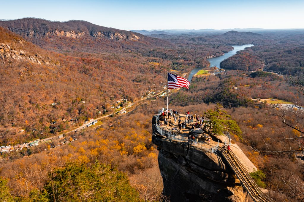 Chimney Rock offers perfect views of changing leaves on a North Carolina road trip.
