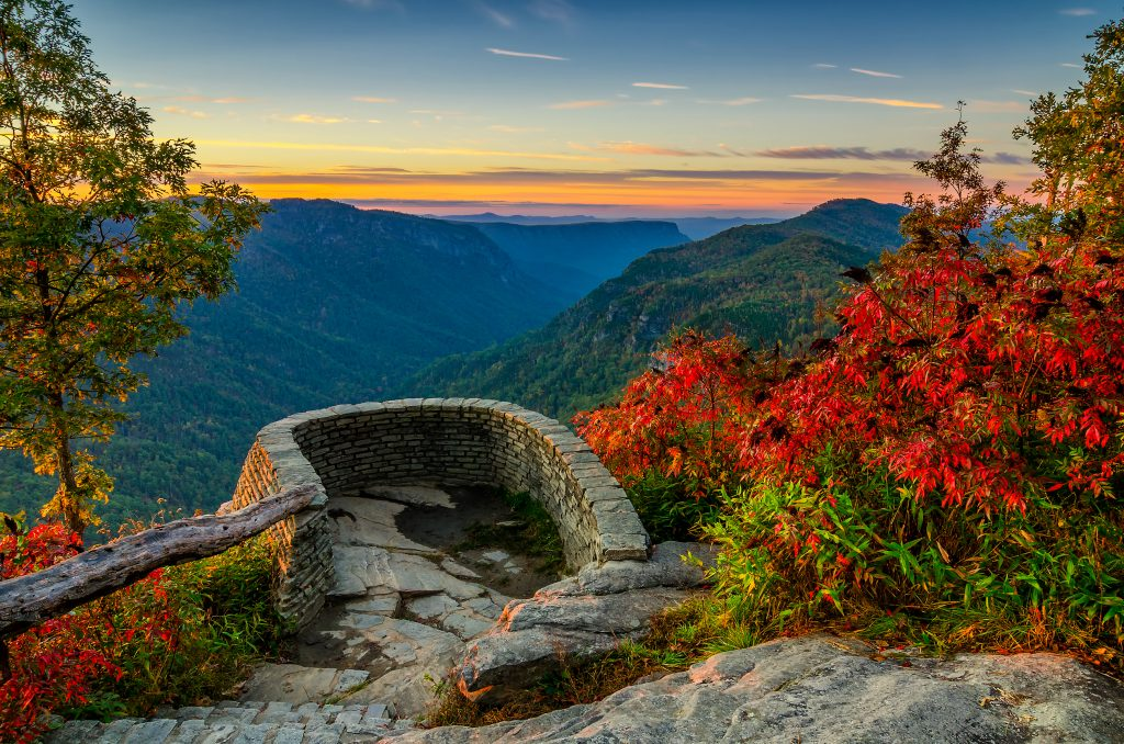 A perfect stop to look off at the foliage and mountains of North Carolina.