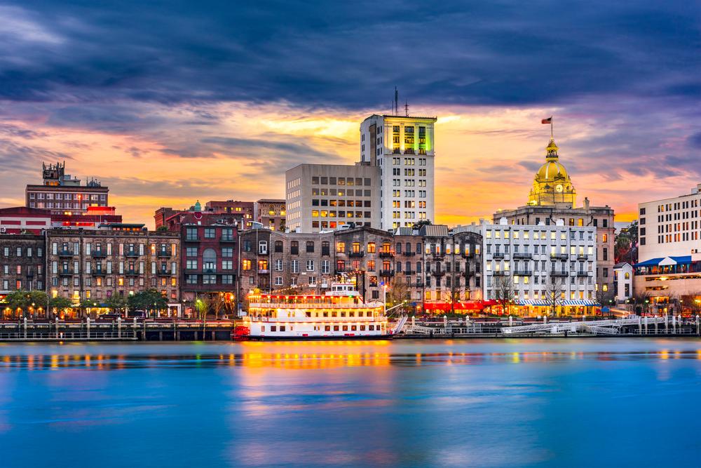 Come take a walk along the riverfront in Savannah Georgia