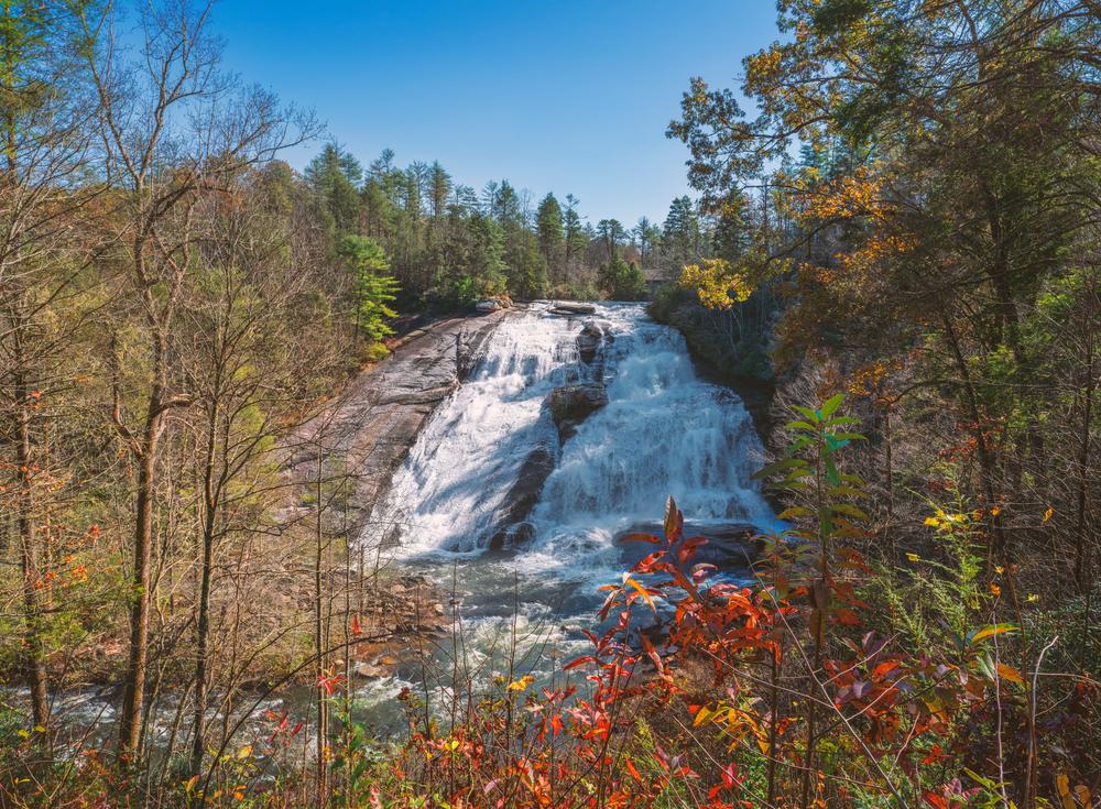Beautiful North Carolina waterfall in the fall, High Falls