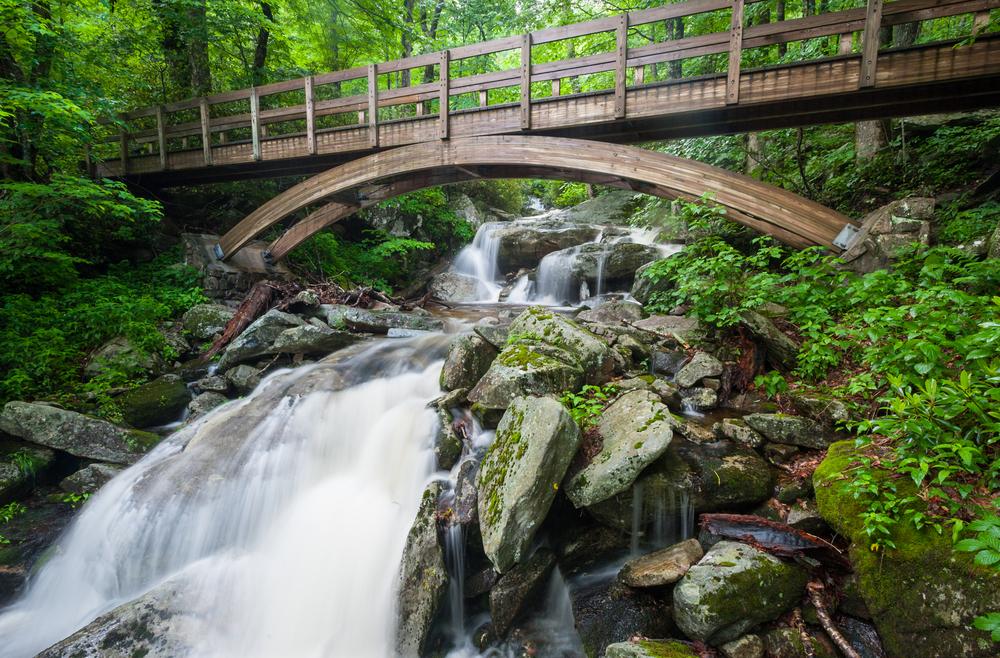 Waterfall under a wooden bridge in North Carolina