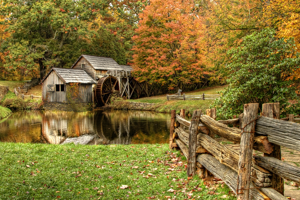 The Mabry Mill is found along the Blue Ridge Parkway.