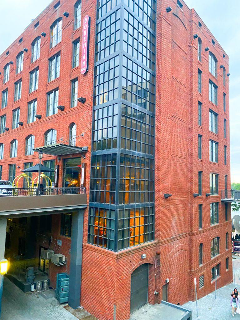 Photo of the Bohemian Hotel along the Savannah riverwalk