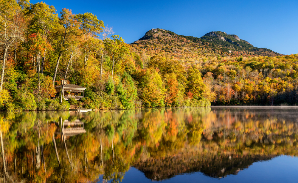 A picture of a lake reflecting Granfather Mountain dressed in the leaves of fall in Boone, North Carolina.