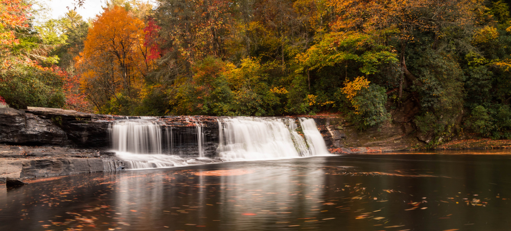 A photo of Hooker Falls surrounded by the changing DuPont Forest leaves in fall.