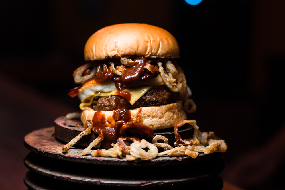 Photo of a hamburger, highlighting the Motor Company Grill one of the best restaurants in Franklin NC.