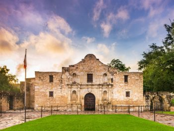 The Alamo at sunset, one of the best museums in texas