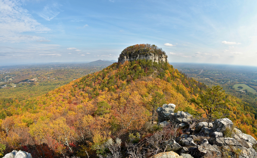 A photo of Pilot Mountain in Pilot Mountain State Park covered in orange, yellow, and green trees of fall in North Carolina.