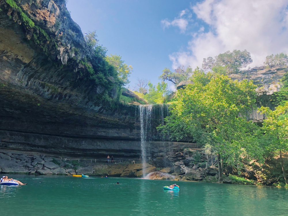 Water from Dripping Springs Falls flowing into Hamilton Pool