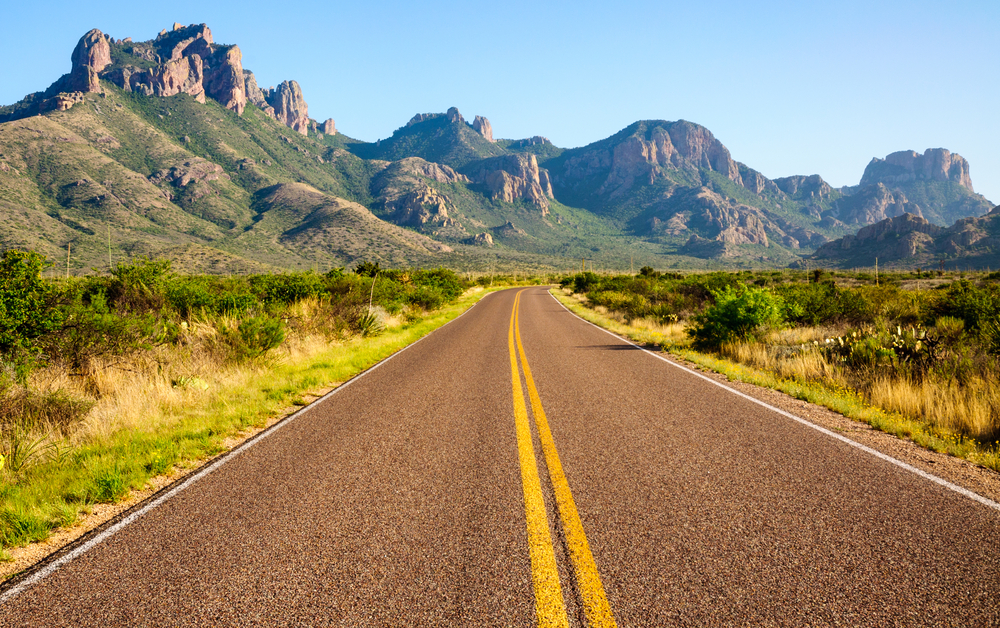 Texas Road Trips Texas road leading to Big Bend National Park