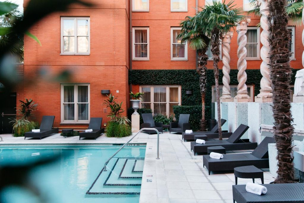Photo of the pool at The Mansion on Forsyth Park. one of the best hotels in Savannah, Georgia.