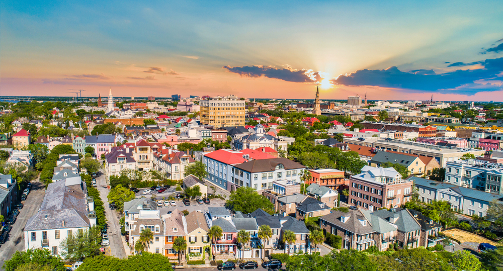 an aerial view of Charleston, where you can spend a weekend in Charleston exploring