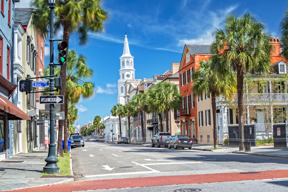Broad St. Charleston, SC on a sunny day with a blue sky