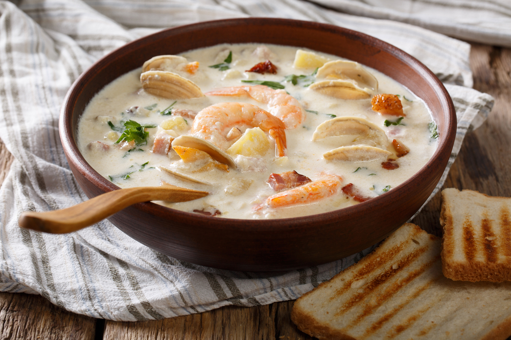 photo of shrimp and clam chowders dish you can get at one of the best restaurants in Huntsville