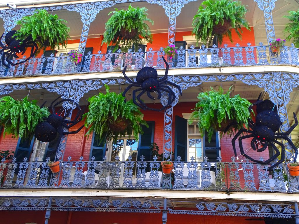Spiders decorate New Orleans during Halloween, the best time to visit New Orleans.