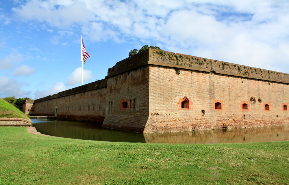 Photo of the fortress and moat at Fort Pulaski in Savannah, Georgia.