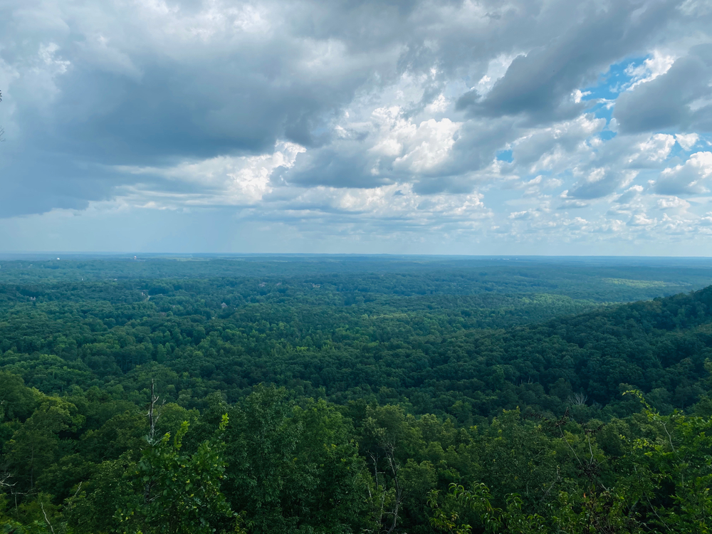 Photo of a sunny view from the top of Kennesaw Mountain in Georgia.
