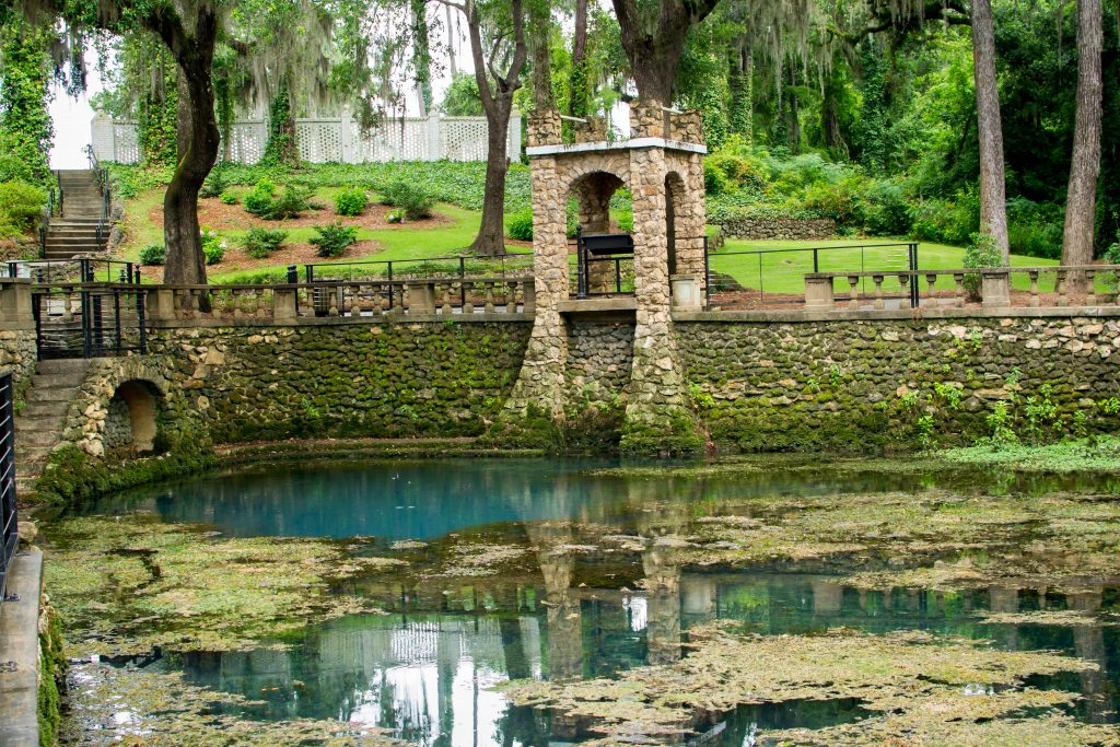 Old stone structures add to the character of the Flint River in Albany, GA, one of the best day trips from Atlanta.