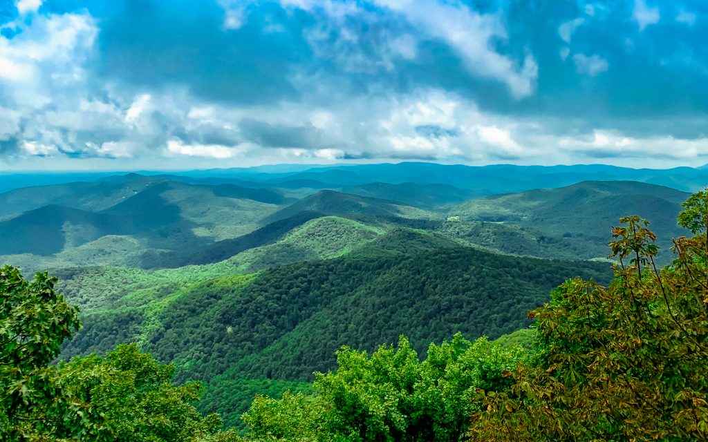The Blue Ridge Mountains as seen from the town of Blue Ridge, one of the best day trips from Atlanta.