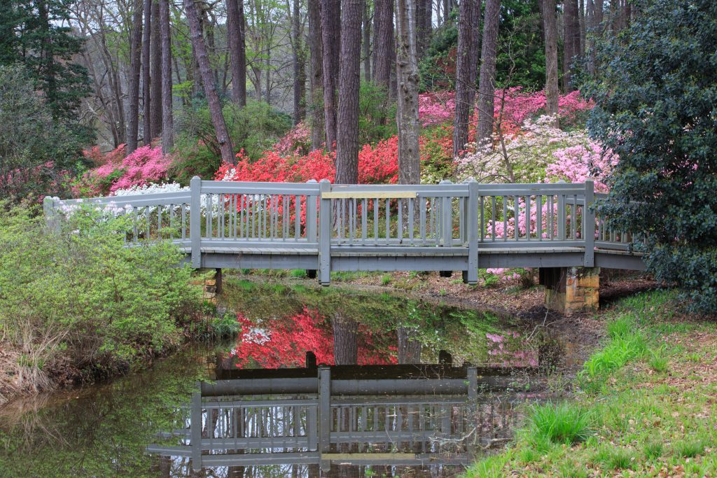 A bridge traverses over a waterway in Callaway Gardens, one of the best day trips from Atlanta.
