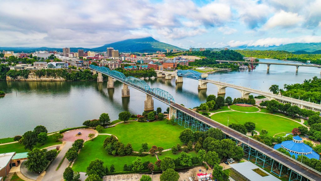 The bridges that connect the town of Chattanooga, one of the best day trips from Atlanta.