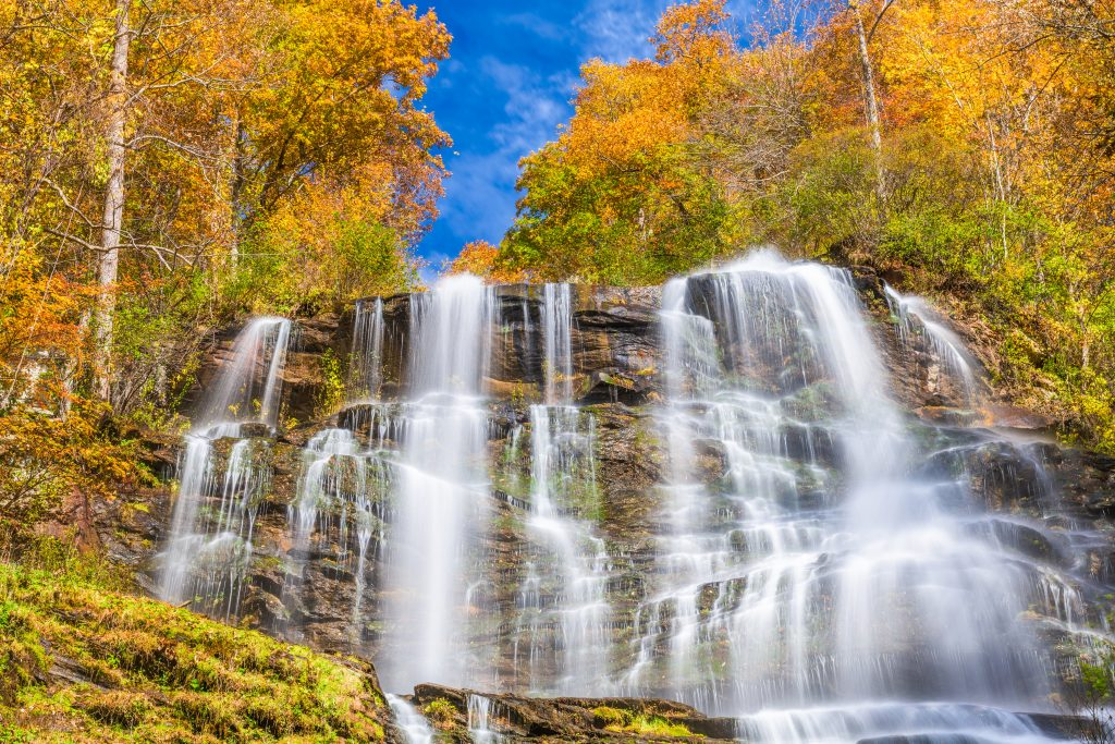 Water cascades down Amicalola Falls, one of the best day trips from Atlanta.