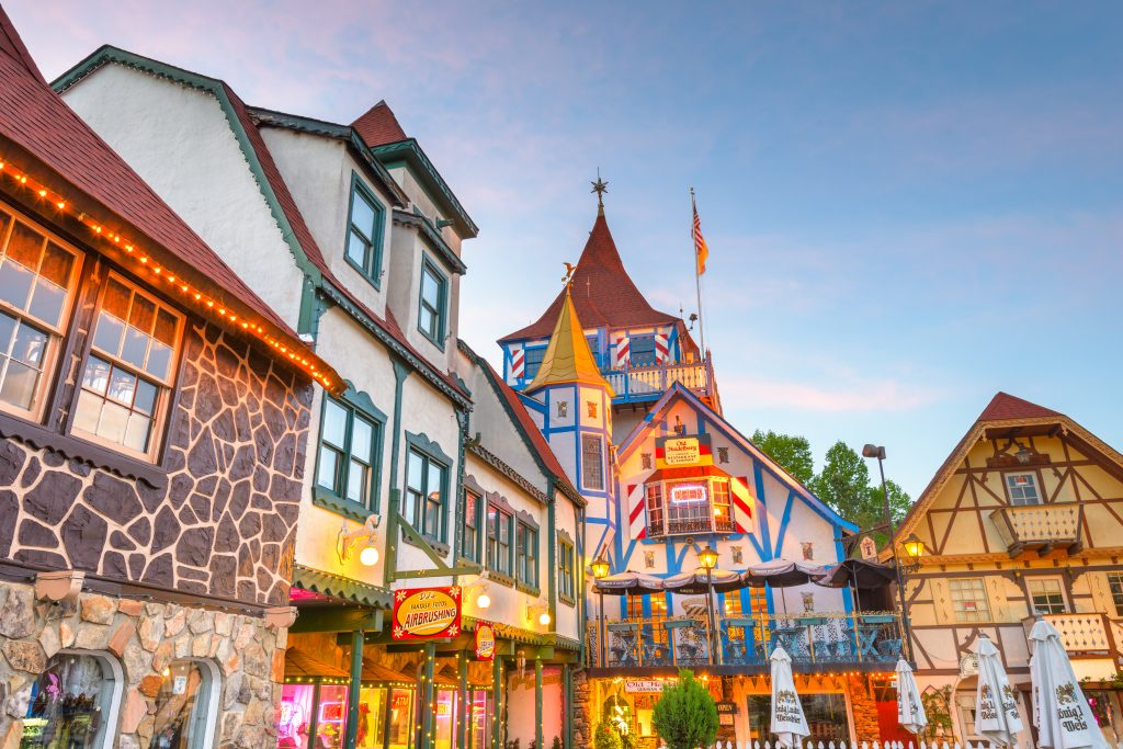 The town of Helen, GA takes a cue from German architecture to look like a Bavarian town.