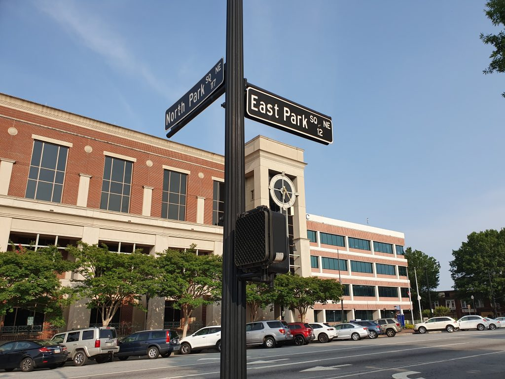 An intersection in Marietta, one of the best day trips from Atlanta.