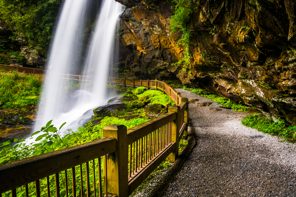 waterfall and walking path