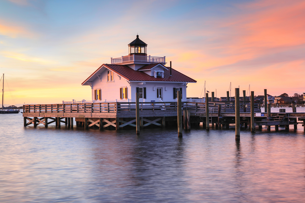 lighthouse on water in manteo