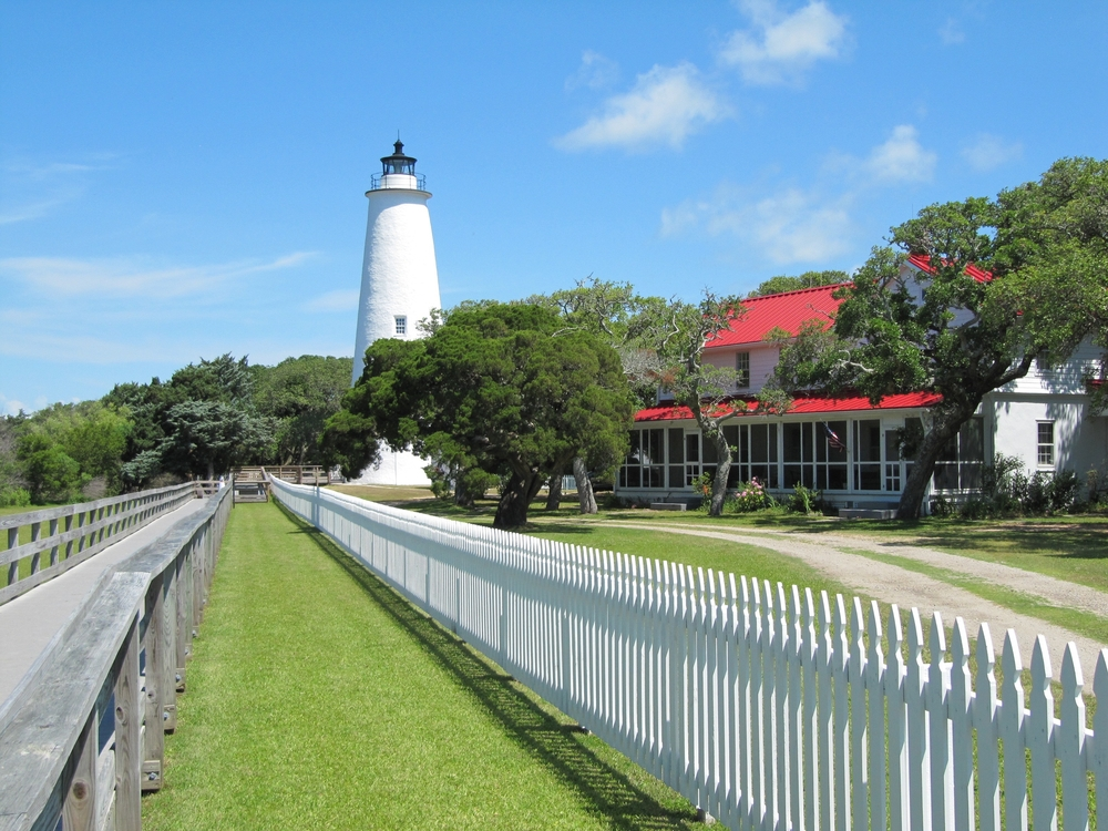 white lighthouse in ocracoke, one of the best small towns in north carolina