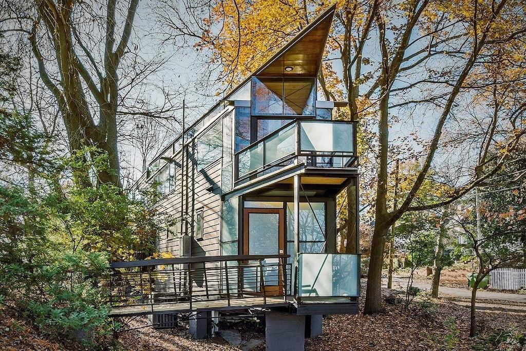 This is a modern glass treehouse near  Atlanta