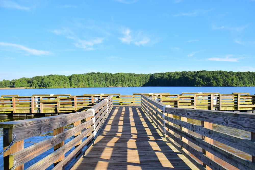 boardwalk over lake wheeler in raleigh